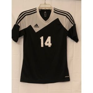 Adidas #14 Black& White Striped V-Neck Shirt